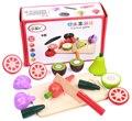 Brinquedos do bebê de Frutas/Legumes Pretend Play Brinquedos De Madeira Conjuntos de Alimentos Cozinha Educacional Criança Brinquedos Aniversário/Presente de Natal