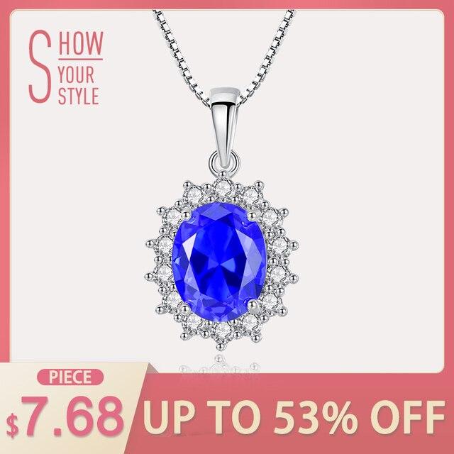 CZCITY Elegant Oval Princess Diana William Sapphire Pendant Necklace for Women 1