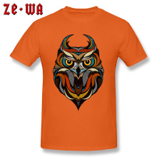 Printed Decorative Owl Mens T-Shirt Natural Cotton Tops T Shirt Blue And Orange New Style Printing Great
