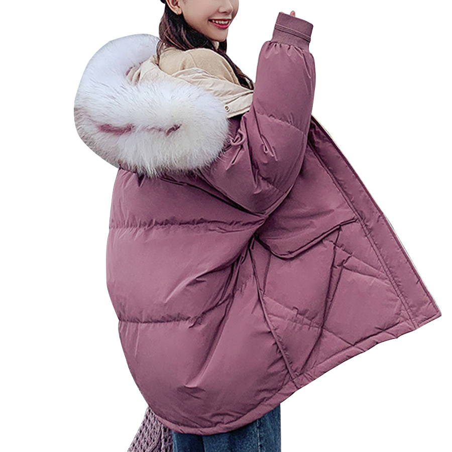 Candy colors winter coat women 2019 fashion large fur collar hooded thick warm jacket women Medium long   parka   outwear plus size