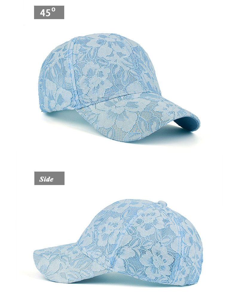 Floral Lace Over Denim Snapback Cap - Baby Blue Cap Side and Front Angle Views