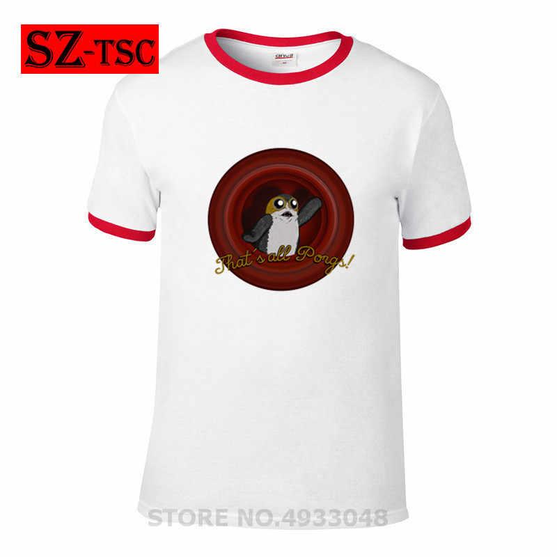 : Ostatni jedi ''porg'' koszulka Star Wars Porg druku T Shirt funny nowość na co dzień bawełna mężczyźni Unisex koszulki z krótkim rękawem lato topy