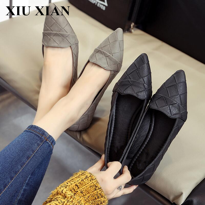 Size 35-39 Summer Comfortable Flats Women Solid Slip-on Flats Rubber Sole Pointed Toe Flats Shoes PU Black Low Heel Shoes Ladies enmayer pointed toe summer shallow flats slip on luxury brand shoes women plus size 35 46 beige black flats shoe womens