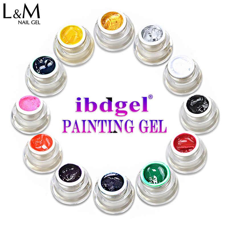 1 צנצנת ibdgel מותג 12 צבע ציור UV ציפורני ג 'ל מחיר טוב פולני משרים כבוי הציפורניים UV ג' ל לנייל אמנות