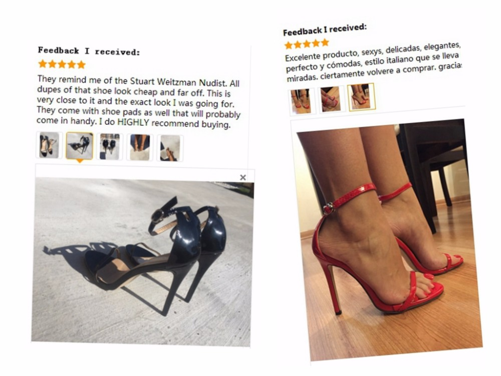 DEleventh Classics Sexy Women Red Wedding Shoes Peep Toe Stiletto High Heels Shoes Woman Sandals Black Red Nude Big Size 43 US10