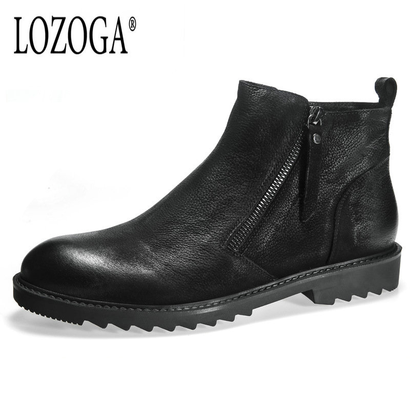 Lozoga 2018 New Style Men Shoes Cow Leather Autumn Winter Men Boots High Quality Casual Comfortable Shoes Male Brand Ankle Boots osco factory direct natural cow leather winter men warm casual shoes warmest wool casusl style men winter oxford shoes a3534