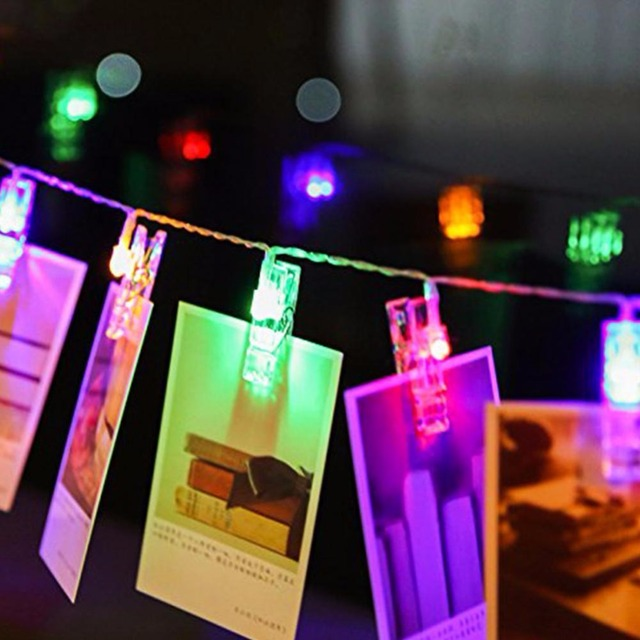 led battery powered photo clip string lights gerlyanda led christmas lights for party holiday outdoor decoration