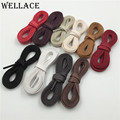 Hot Wellace White Black Flat Wax Shoelace Cotton Shoe Lace 8mm width shoestring Cord for Unisex Leather Shoes Boots 150cm/59""