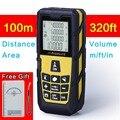 320ft amarelo (100 m) Laser Medidor de Distância Digital A Laser Digital rangefinder Trena A Laser Área/volume de M/Ft/na Ferramenta