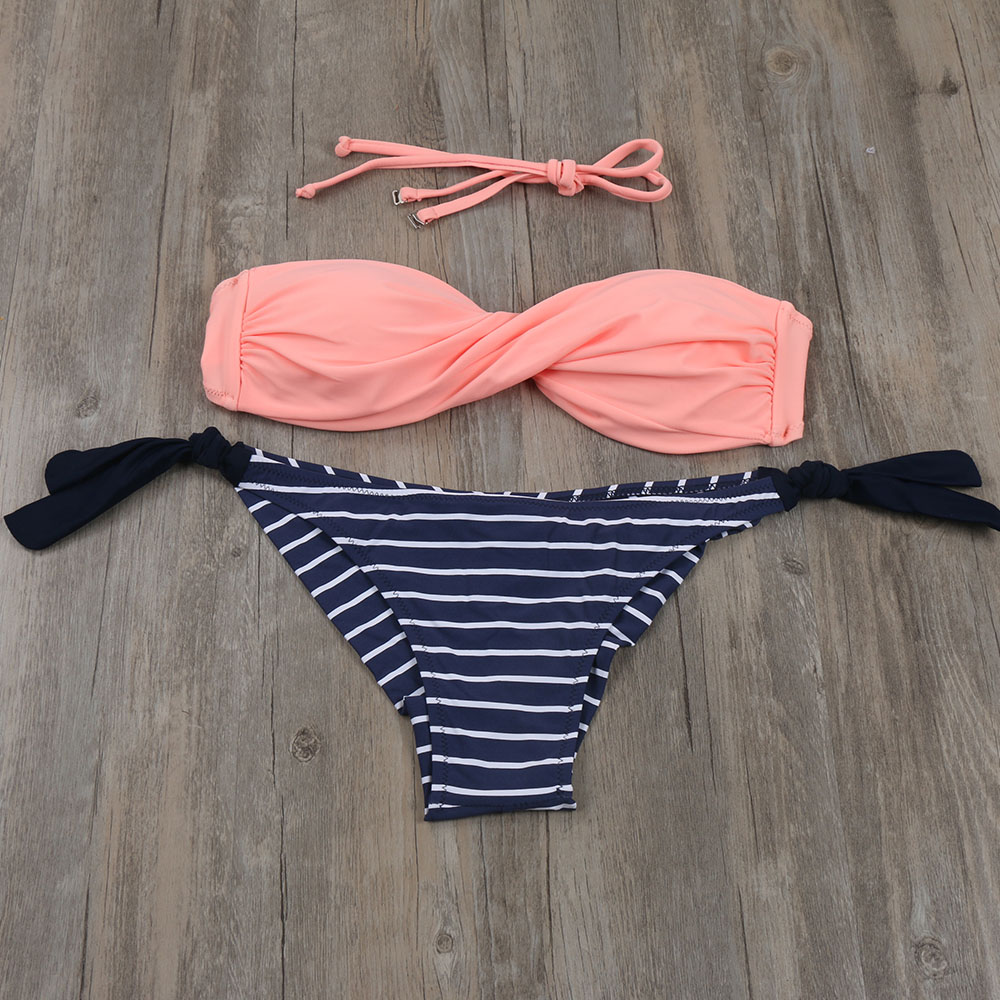 2017 Summer Women Bikinis Set Sexy Striped Swimwear Strappy Brazilian Bikini Beach Bandeau Swimsuit Push Up Bathing Suit XL E607 tqskk push up bikinis women swimsuit sexy bandeau swimwear female retro 2017 bikini set beach wear striped bathing suit biquini