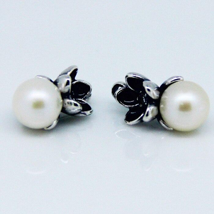 CKK 925 Sterling Silver Floral Pendant Freshwater Cultured Pearls Stud Earrings Original Jewelry Making