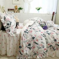 Newfashion bedding set elegant ruffle duvet cover bed sheet set bed skirt bedspread bed cover bedding princess cotton fabric