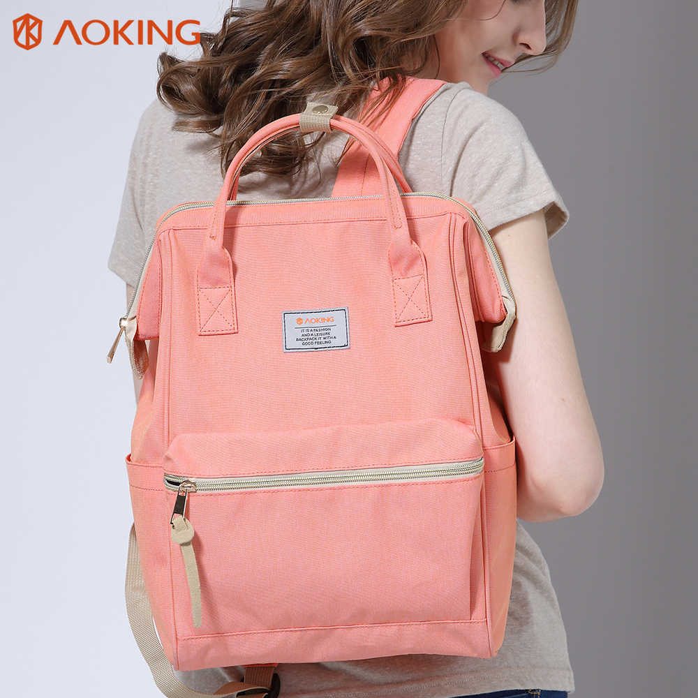 Aoking New Men Women Schoolbags Stylish Daily Backpack Nylon Laptop портфель школьный with anti-theft pocket for Teenagers