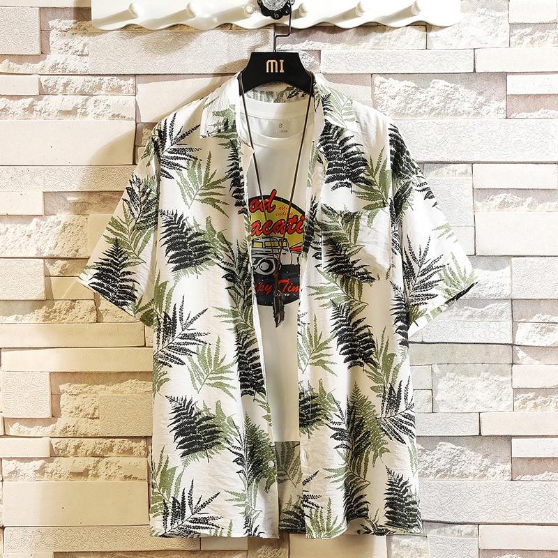 Print Brand Summer Hot Sell Men's Beach Shirt Fashion Short Sleeve Floral Loose Casual Shirts Plus Asian SIZE M-4XL 5XL Hawaiian
