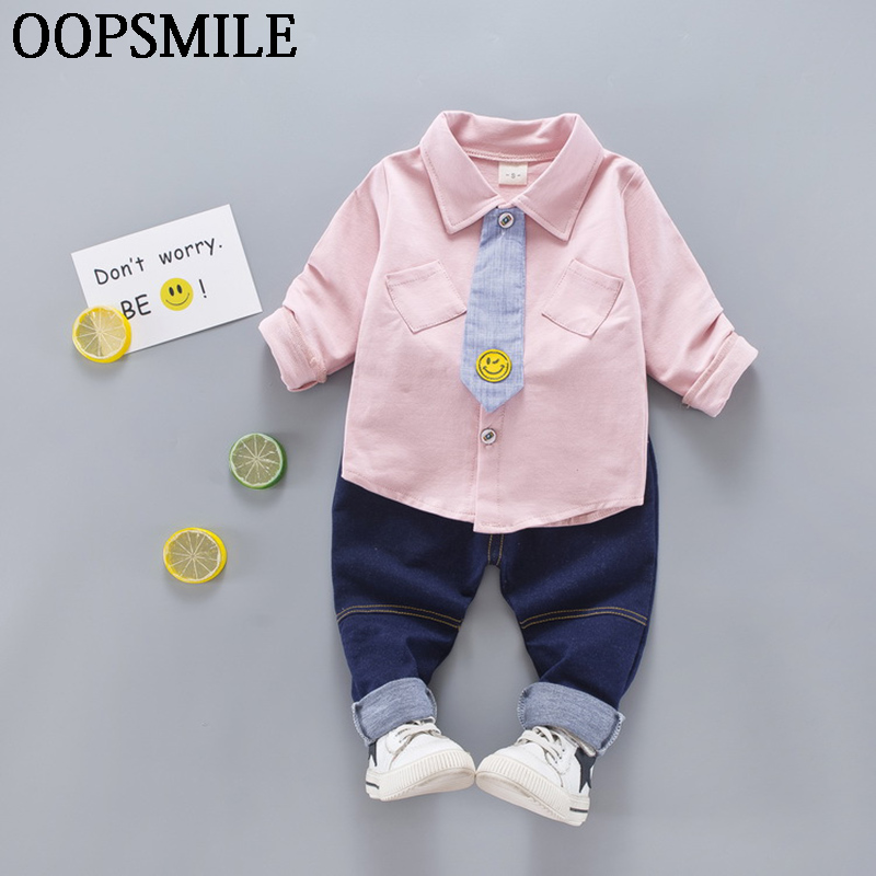 2017 Spring Autumn baby boys clothes Long sleeve cotton tie shirt+jeans pants 2pcs baby boys clothes baby clothing set