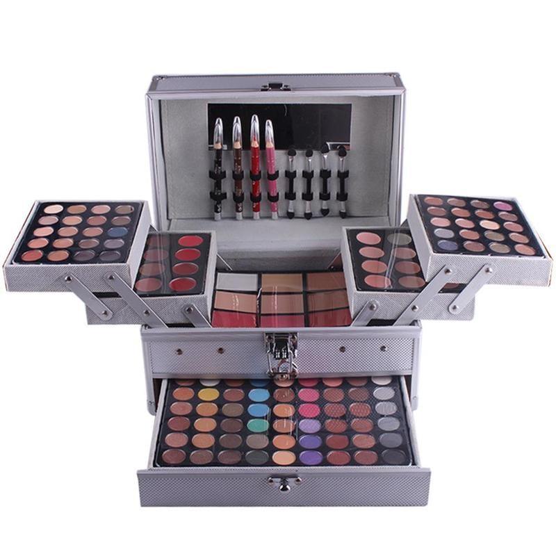 Ensemble De Maquillage professionnel Maquillage Artiste Kit Cadeau Boîte En Aluminium Avec Fard À Paupières Blush Poudre Contour Palette