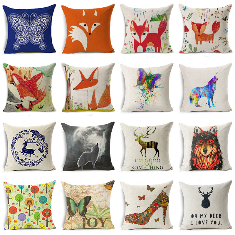 2018 Red Fox Cushion Cover Cotton Linen Letter Cartoon Tree Deer Wolf High Heels Home Deocrative Pillow Cover for Sofa Cojines
