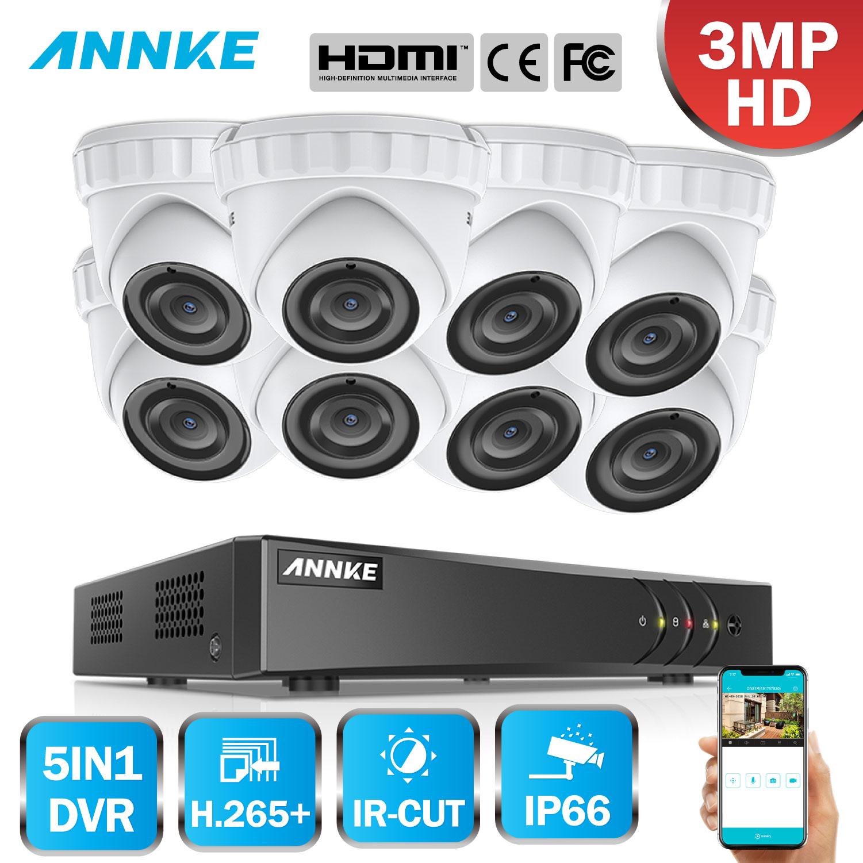 ANNKE 8CH HD 3MP CCTV Camera Security System 5in1 HDMI DVR 8PCS 3MP TVI Dome Outdoor