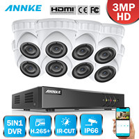 ANNKE 16CH HD 3MP CCTV Camera Security System 5in1 HDMI DVR 8PCS 3MP TVI Dome Outdoor Weatherproof Home Motion Detection Kit