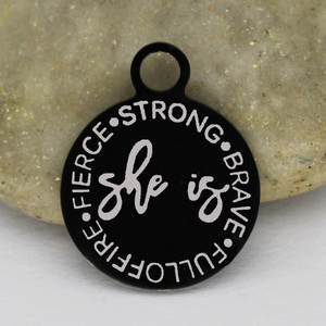 Image 4 - Ladyfun Stainless Steel Black Woman Charms   She Is Fierce Strong Brave Fulloffire Charm for jewelry making