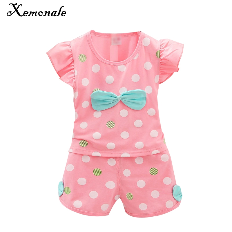 Xemonale 2017 Infant clothes toddler children summer baby girls clothing sets stripe dots 2pcs bow clothes sets girls summer set