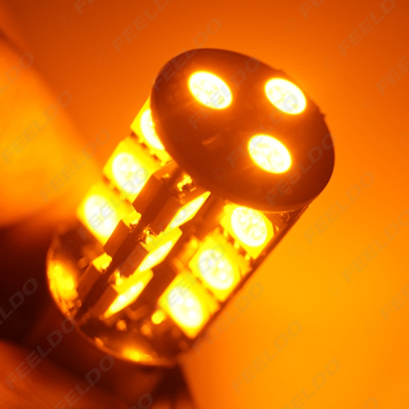 FEELDO 2Pcs BAU15S S25 27SMD 5050 27 LED CANBUS OBC Error Free Car LED Light Turn Light White Red Yellow #FD-4014