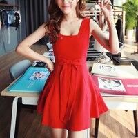 2015 mode Frauen Sleeveless Weiß/Schwarz/Rot Kurzes Minikleid Vintage Dünnes Sommerkleid Zwei-wege Bowknot Vorder-oder Rückseite Lolita Kleid