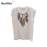 RealShe Women Sequins Leaves T Shirt Ladies Short Sleeve Star Novelty Casual T Shirt Fashion Summer