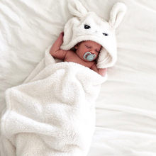 Winter baby blankets Newborn Warm Soft Flannel Baby Boy Girl Cute Cartoon Ears Hooded bath towel Blanket Sleeping Wrap Swaddle(China)