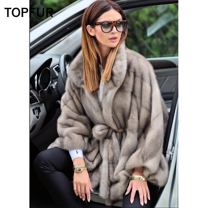 TOPFUR New Coming Real Mink Fur Coat Bat Type Women Short Mink Fur Coats With Belt High Street Luxury Winter Warm Fur Jackets