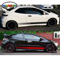 HotMeiNi Car Sticker Body Styling 2x Side Stripe Kit Decal Stripes Sierra Grill Door Cover Accessories Black/Sliver 200*13.5cm