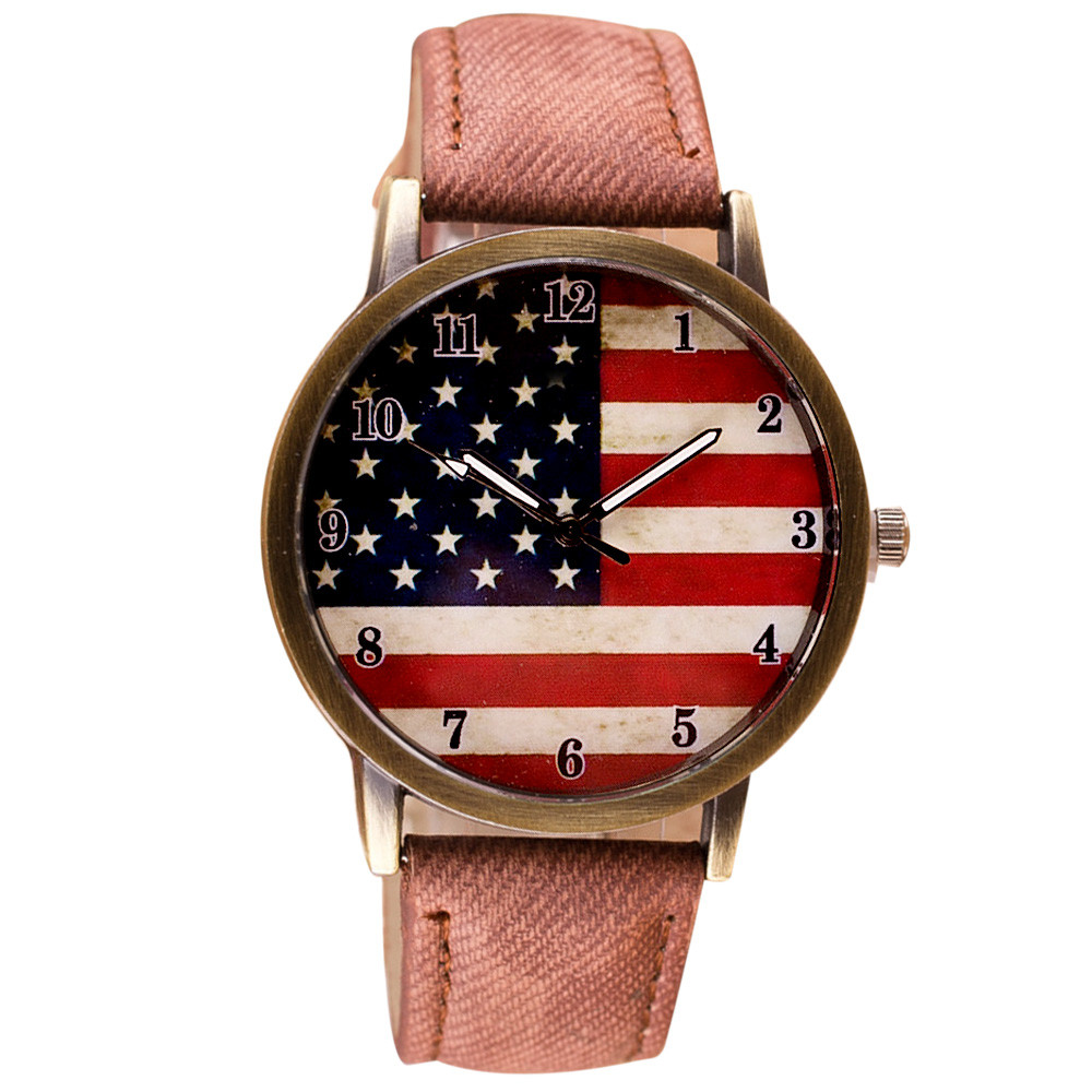 Women Watches American Flag Pattern Leather Band Analog Quartz Vogue Wrist Watches Dropshipping