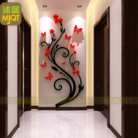 3D Three Dimensional Wall Stickers Acrylic Wall Decorative Tree Attached Balcony Kitchen Living Room TV Wall