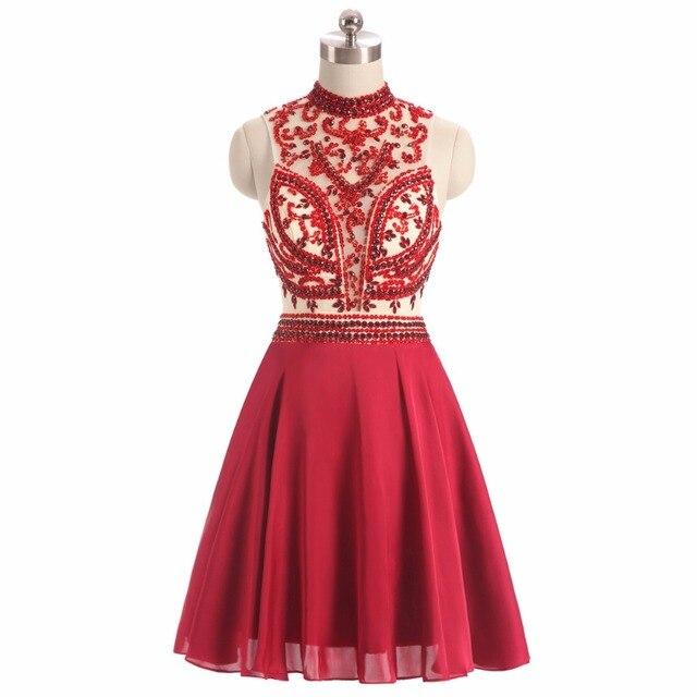 fd8e9d74b9a63 2017 ريال صور عالية الرقبة أكمام عنابي مطرز فساتين سهرة قصيرة الراين  vestidos باكستان مجانية