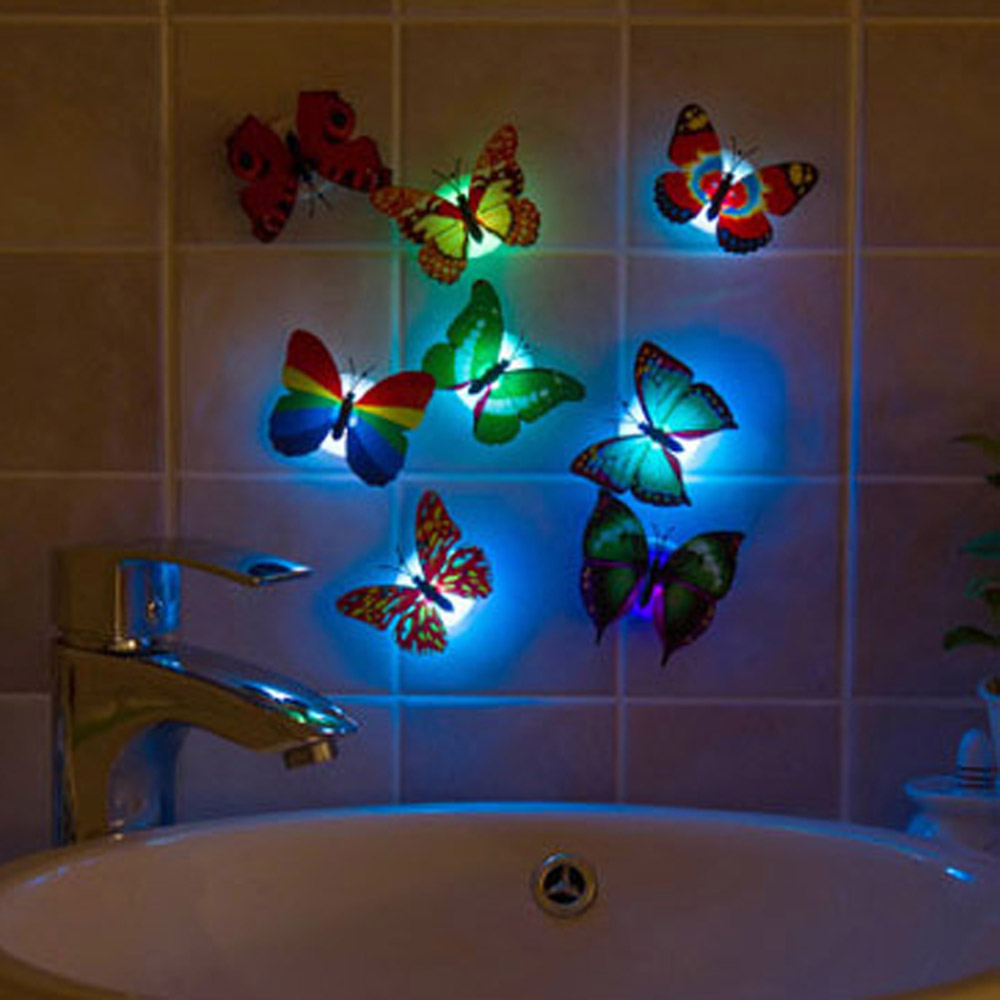 cute butterfly stick led lamp night light creative lava table lamp novelty lighting luz de noche home bathroom decoration