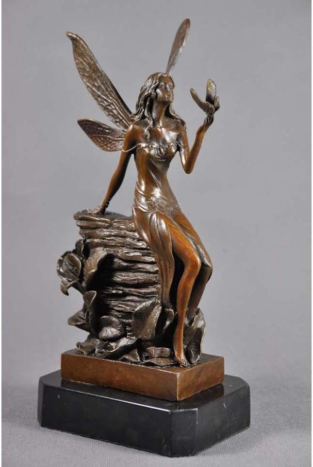 Artesanías cobre Navidad regalos de lujo decoración de artesanías para niños habitación bronce flor Hada estatua figurillas CZS 147 - 4