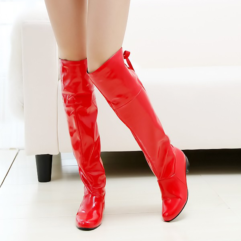 Long Boots Block Heels Sexy Women Shoes Fashion Knee High Boots Patent Leather Fur Shoes Black Red Winter Boots Big Size 43 annymoli women boots winter platform extreme high heels boots sexy fashion boots red bridal wedding party shoes big size 33 43