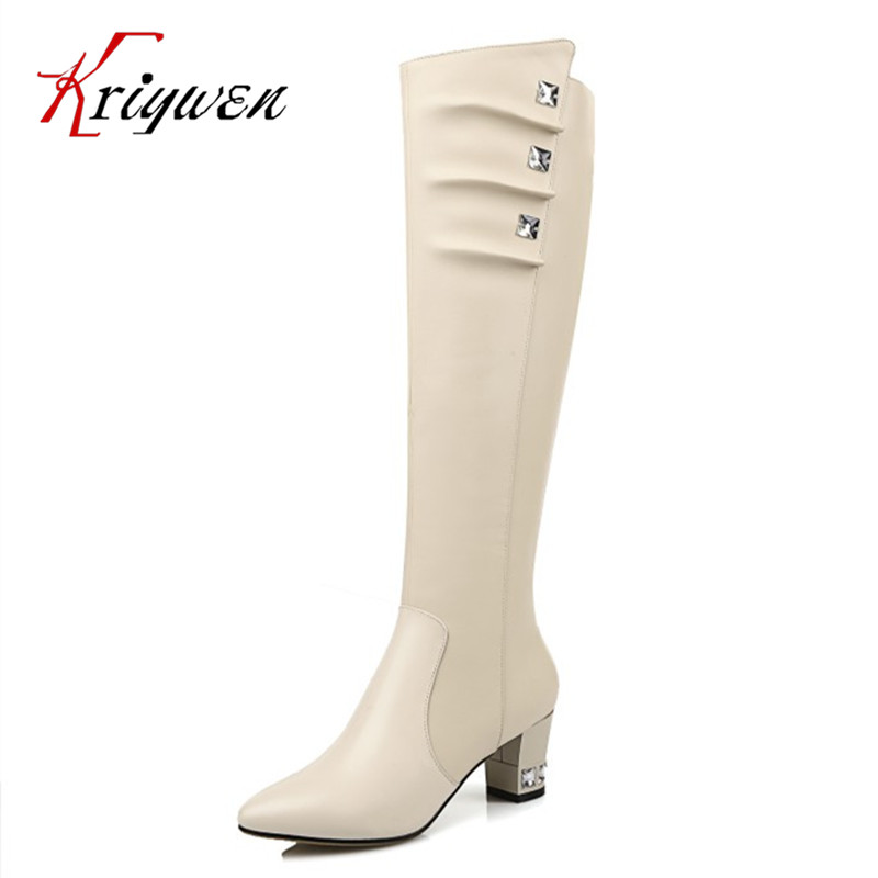 Luxury rhinestone motorcycle boots 100% genuine cowhide soft leather Women high heels Knee High Boots Sexy Lady fashion Shoes drop shipping 2015 fashion arrive sexy full grain leather lady high heels motorcycle boots for women genuine leather ankle boots