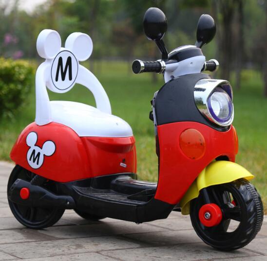 Oferta especial 75 dias Frete Grátis Três Cores Mickey Passeio Criança No Brinquedo Elétrico Da Motocicleta Da Bicicleta Para 1-5 anos de Idade Do Bebê