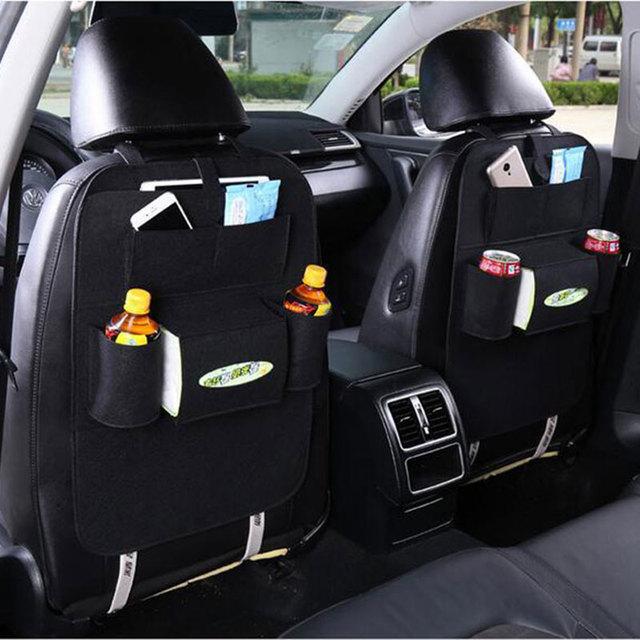Multifunctional Car Seat Bag Organizer, wool felt Seat back protectors for children, storage bottles, tissue box