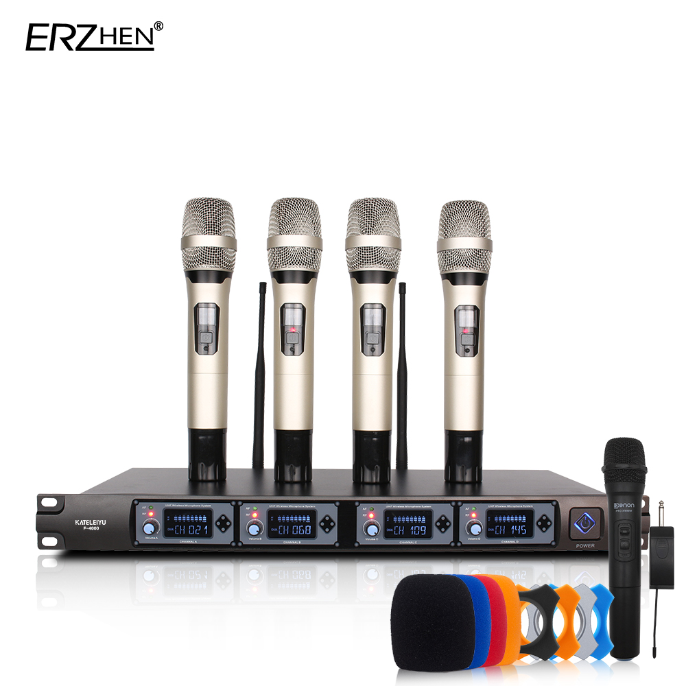 Wireless Microphone System U4000T Professional Microphone 4 Channel UHF Dynamic Professional 4 Handheld Microphone + Karaoke boya by whm8 professional 48 uhf microphone dual channels wireless handheld mic system lcd display for karaoke party liveshow