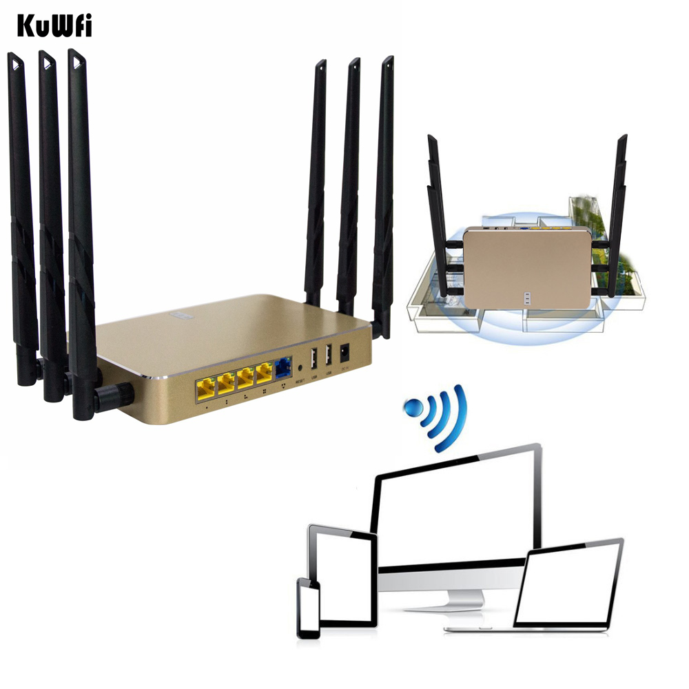 1200Mbps Wireless Wifi Router 11AC 2.4G&5G Gigabit Through Wall WiFi Repeater AP Router High Gain Support 128 Users tenda ac6 wireless wifi router 1200mbps 11ac dual band wifi repeater 802 11ac wps wds app control pppoe l2tp eu us ru firmware