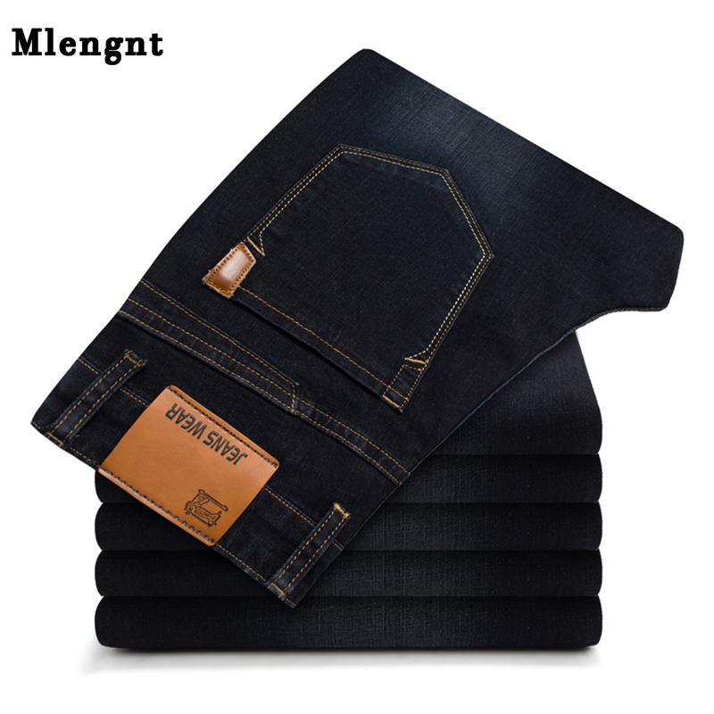 Casual Streetwear   Jeans   For Men Spring Autumn College Skinny Straight Black Blue Zipper Solid Stretch Classic Denim Pants Male