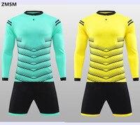 ZMSM manica Lunga Mens Pullover di Calcio Kit Calcio survêtement 2017 del collare del basamento uniformi di gioco del Calcio Shorts con tasca QD1704