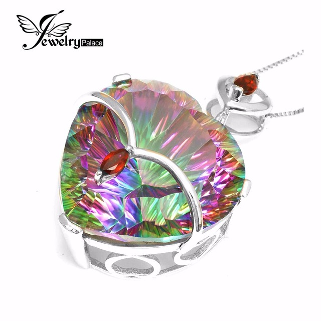 60ct Mystic Rainbow Topaz Garnet Pendant Solid 925 Sterling Solid Silver Concave Heart Cut Promotion Jewelry Hot Gift For Women