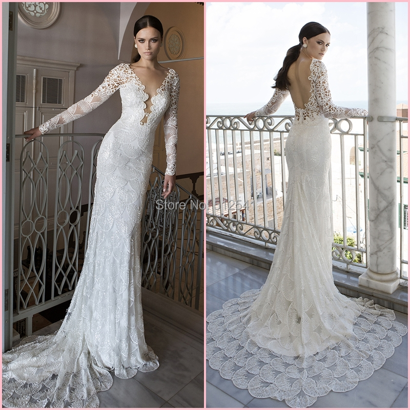 magnificent 2015 new v neck mermaid beading bridal dress long sleeves sexy backless wedding dress