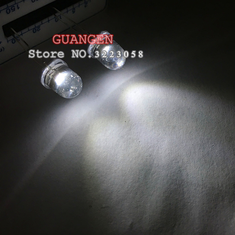 50pcs 8mm White LED Transparent 20mA Ultra Bright Clear Lens Round LED 8 mm Light Emitting Diode Lamp High Power DIP LongLegs