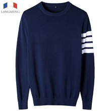 LANGMENG 2017 Brand New Sweaters Men Fashion Style Autumn Winter Patchwork Knitted Pullover Men O-neck Casual Men Sweater