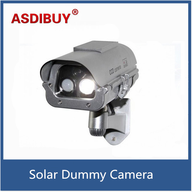 Solar Simulation Camera Dummy Fake Surveillance CCTV Security with flashlight And Motion Detector bullet cabera false camera bullet camera tube camera headset holder with varied size in diameter