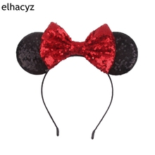 5''Big Sequin Minnie Ears Headband For Girls 2018 Minnie Mouse Birthday Party Women Glitter Ears Headbands Kids Hair Accessories 1pc new valentine minnie mouse ears headbands 5 sequin bow hairband for girls kids party headband hair accessories